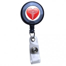 Black - Medical Heart Symbol Translucent Plastic ID Badge Reel