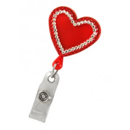 Heart Shaped Plastic Badge Reel with Crystals