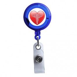 Blue - Medical Heart Symbol Translucent Plastic ID Badge Reel