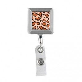 Brown Leopard Printed - Square Chrome Badge Reels