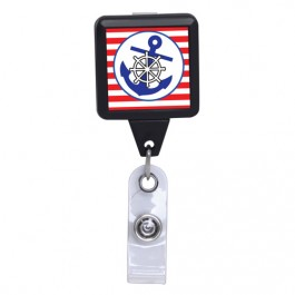 Blue Anchor - Black Square Plastic Badge Reel