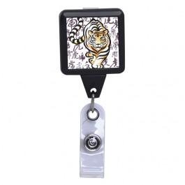 Chinese Tiger Brush Paint Black ID Badge Reel