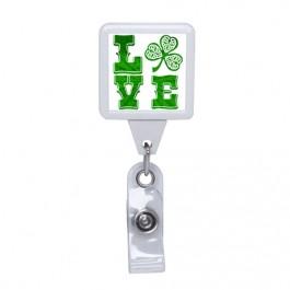 White - LOVE Irish, Square Plastic Badge Reel