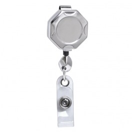 Chrome Octagon ID Retractable Badge Reel