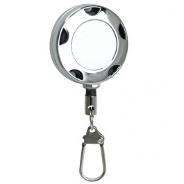 Chrome Metal Badge Reel, Safety Pin Backing and Clasp Holder