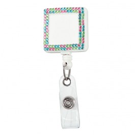 Square Plastic Badge Retractable Reel with Crystals