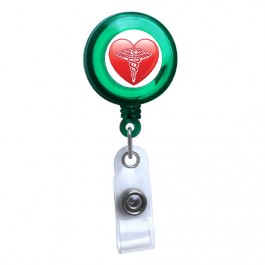 Green - Medical Heart Symbol Translucent Plastic ID Badge Reel
