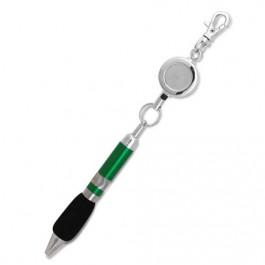 Chrome Retractable Reel Ballpoint Pen - Green
