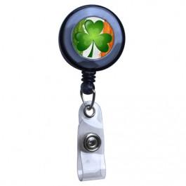 Black - Irish Flag and Shamrock Translucent Plastic Badge Reel