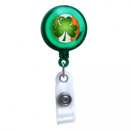 Green - Irish Flag and Shamrock Translucent Plastic Badge Reel