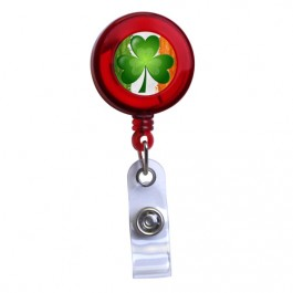 Red - Irish Flag and Shamrock Translucent Plastic Badge Reel