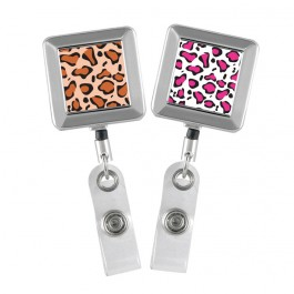 Leopard Printed - Chrome square badge reel