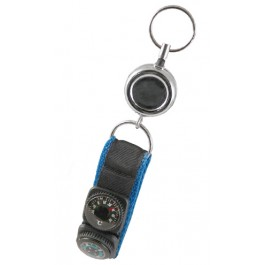 Metal Round Pull Key Reel with Compass and Thermometer