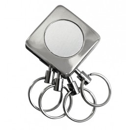Metal Square 4 Rings Detachable Keychain