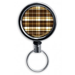 Mirrored Chrome Retractable Reel ONLY – Brown Plaid
