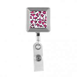 Pink Leopard Printed - Square Chrome Badge Reels