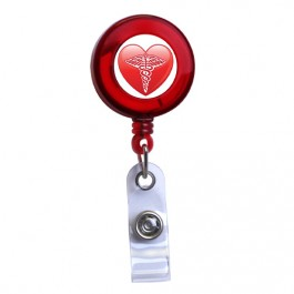 Red - Medical Heart Symbol Translucent Plastic ID Badge Reel