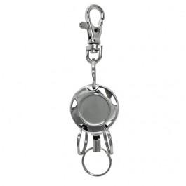 Metal Round Pull Key Reel with Three Split Rings and Metal Hook