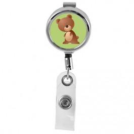 BEAR - Cute Animals Series Mini Chrome ID Badge Reel