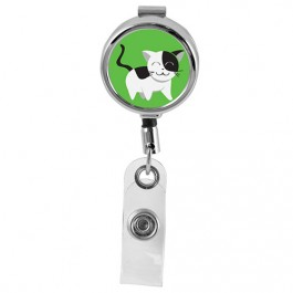 CAT - Cute Animals Series Mini Chrome ID Badge Reel