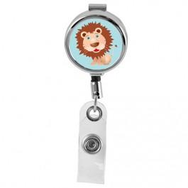 LION - Cute Animals Series Mini Chrome ID Badge Reel