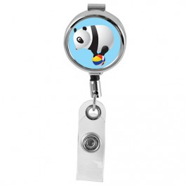 PANDA - Cute Animals Series Mini Chrome ID Badge Reel