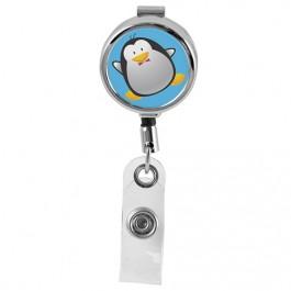 PENGUIN - Cute Animals Series Mini Chrome ID Badge Reel