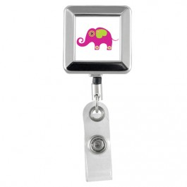 ELEPHANT- Animals Square Chrome Badge Reels