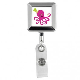 Octopus - Designer Animals Square Chrome Badge Reels