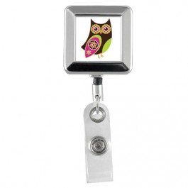 OWL - Animals Square Chrome Badge Reels