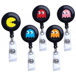 Nom Nom Nom... Retro Game Plastic Badge Reel Set
