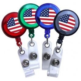 American Flag Translucent Plastic Badge Reel