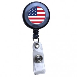Black - American Flag Translucent Plastic Badge Reel