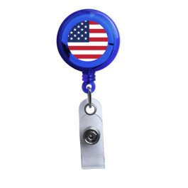 Blue - American Flag Translucent Plastic Badge Reel