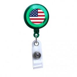 Green - American Flag Translucent Plastic Badge Reel
