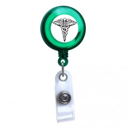Green - Medical Symbol Translucent Plastic ID Badge Reel