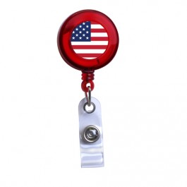 Red - American Flag Translucent Plastic Badge Reel