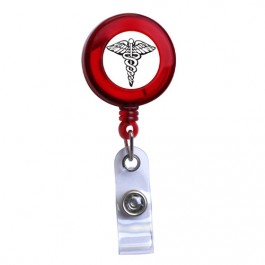 Red - Medical Symbol Translucent Plastic ID Badge Reel