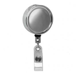 Large Chrome ID Badge Reel, Belt Clip