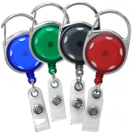 Translucent Carabiner Badge Reels, Accent holes and Chome finish