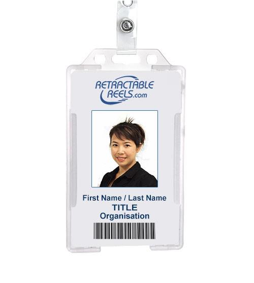 vertical hard plastic id badge holder