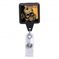 Radio Active Skull Black ID Badge reel