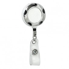 Chrome ID Badge Reel with Half-Moon Cutouts