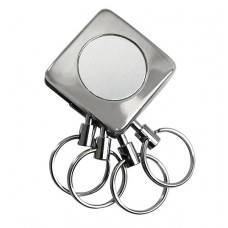Metal Square 4 Rings Detachable Keychain