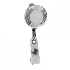 Chrome Round Dimpled Badge Reel, Alligator Back Clip