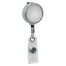 Mini Chrome ID Badge Reel, Belt Clip