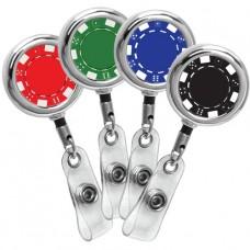 Poker Chip Series Chrome Beveled ID Badge Reel