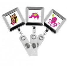 Designer Animals Square Chrome Badge Reels