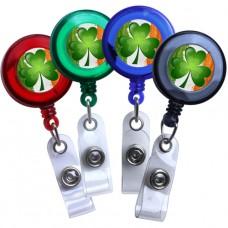 Blue - Irish Flag and Shamrock Translucent Plastic Badge Reel