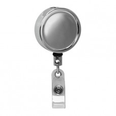 Large Chrome ID Badge Reel, Belt Clip